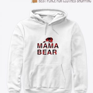 Mama bear with baby bear buffalo plaid Hoodie