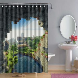 Bathroom Minecraft Creeper Shower Curtain