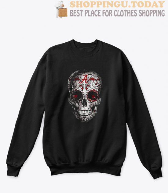 Alabama Crimson Skull flower Sweatshirt