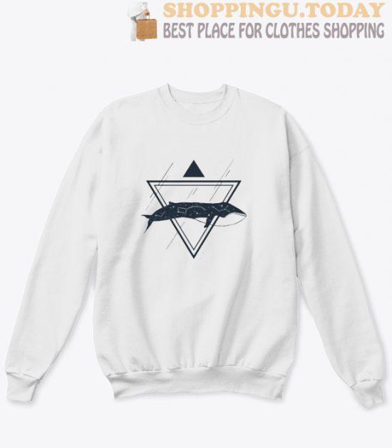 Cosmic Whale Geometric Style sweatshirt