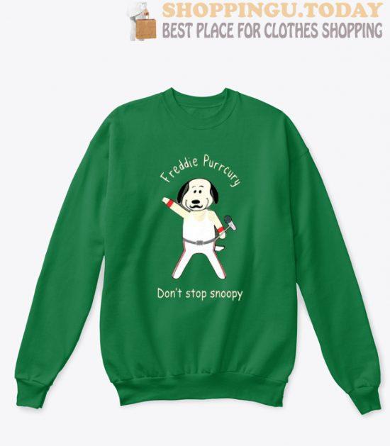 Freddie Purrcury Don't Stop Snoopy sweatshirt
