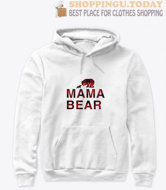 Mama bear with baby bear buffalo plaid Hoodie