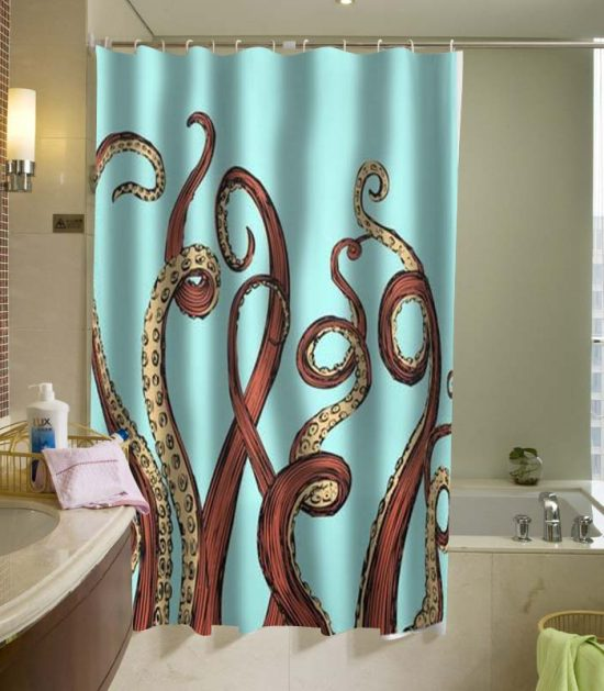 Aqua Octopus Shower Curtain