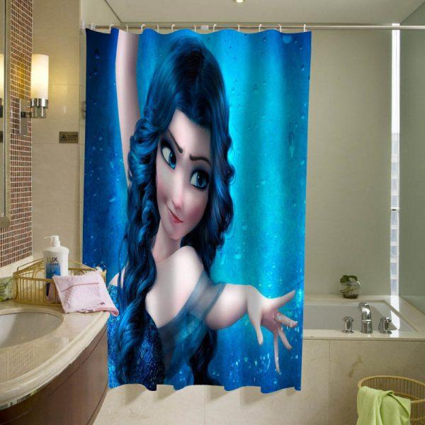 Blue Haired Elsa, Elsa with darker hair Shower Curtain