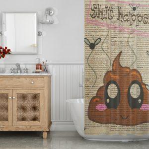 Shit art print Emoji Shower Curtain