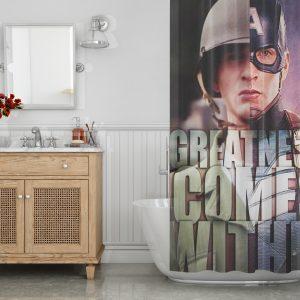 Superhero Captain America Shower Curtain