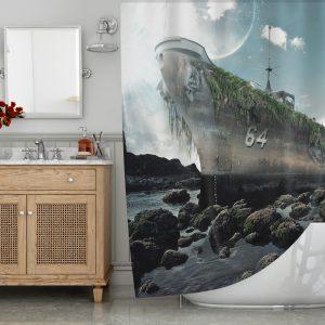 Battleship Giant Octopus Shower Curtain