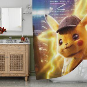 Pokemon Detective Pikachu Shower Curtain
