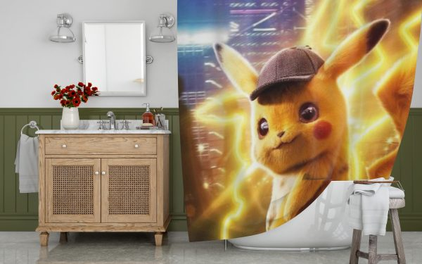Pokemon Detective Pikachu Shower Curtain