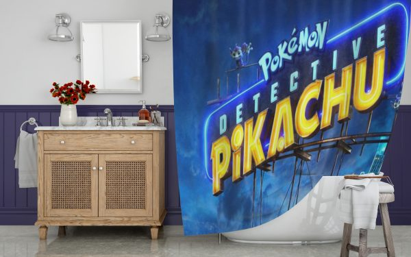 The Pokemon Detective Pikachu Shower Curtain
