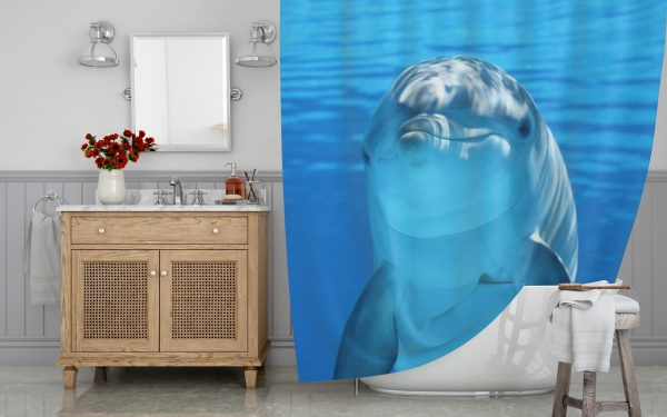 The Smilling Dolphin Shower Curtain