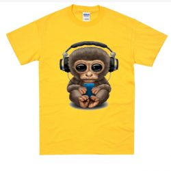 Cute Baby Monkey With Cell Phone Wearing Headphones SP Shirt