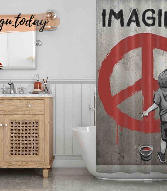Imagine Peace Graffiti Shower Curtain