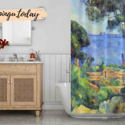 My Village Art Shower Curtain