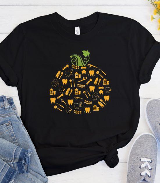 Dental Pumpkin Funny Halloween Cool Trending T Shirt