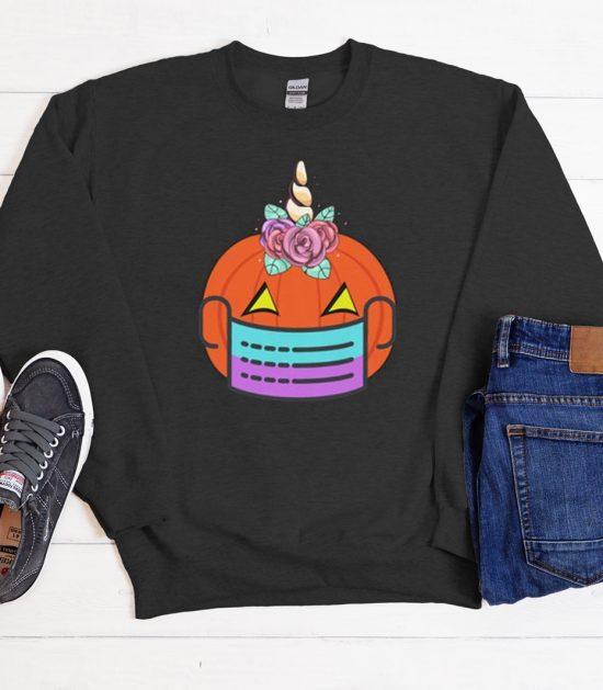 Unicorn Pumpkin Wearing A Face Mask 2020 Cool Trending Sweatshirt
