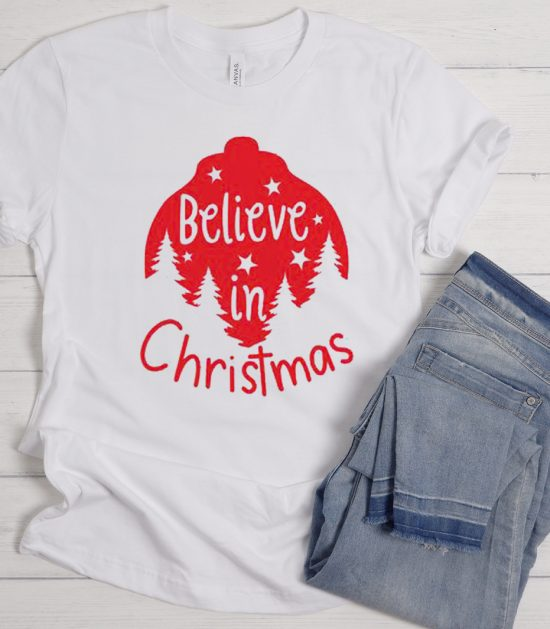 BELIEVE in Christmas Cool Trending graphic T Shirt