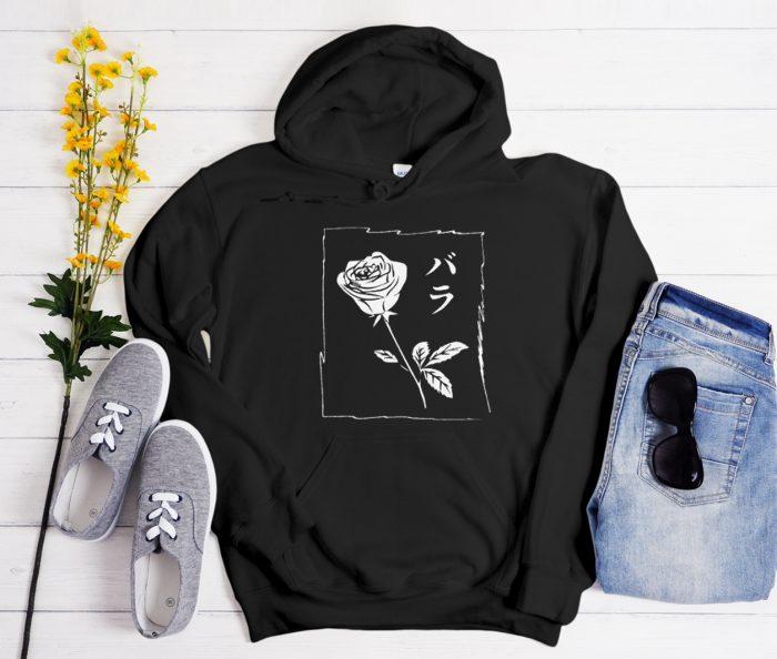 Black White Rose Cool Trending graphic Hoodie