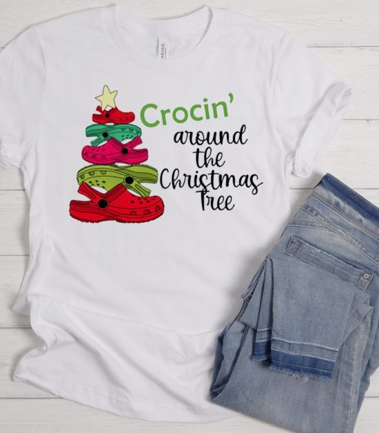 Crocin' Around the Christmas Tree Cool Trending graphic T Shirt