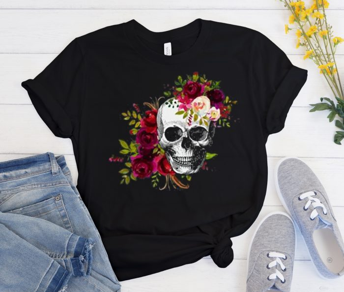 Floral Skull Cool Trending graphic T Shirt