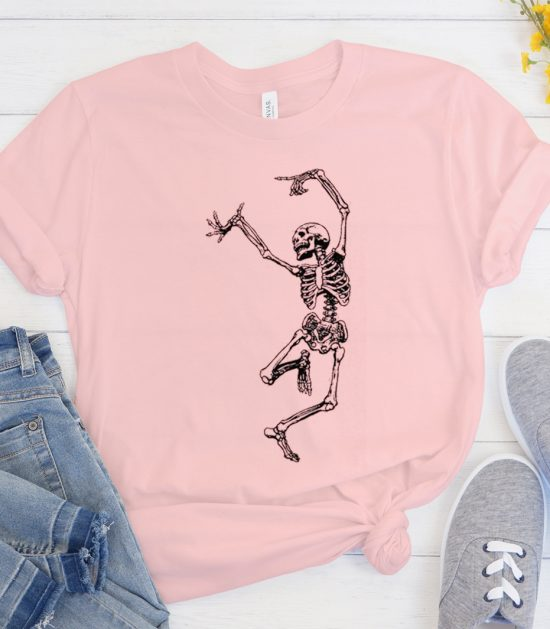 Funny Dancing Skeleton Skull Cool Trending graphic T Shirt