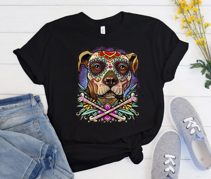 Pitbull Dog - Sugar Skull Cool Trending graphic T Shirt