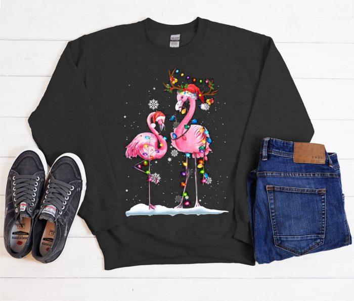 Santa Reindeer Flamingo Christmas Cool Trending graphic Sweatshirt