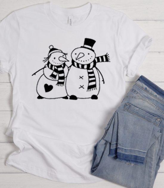 Snowman Couple Christmas Cool Trending graphic T Shirt