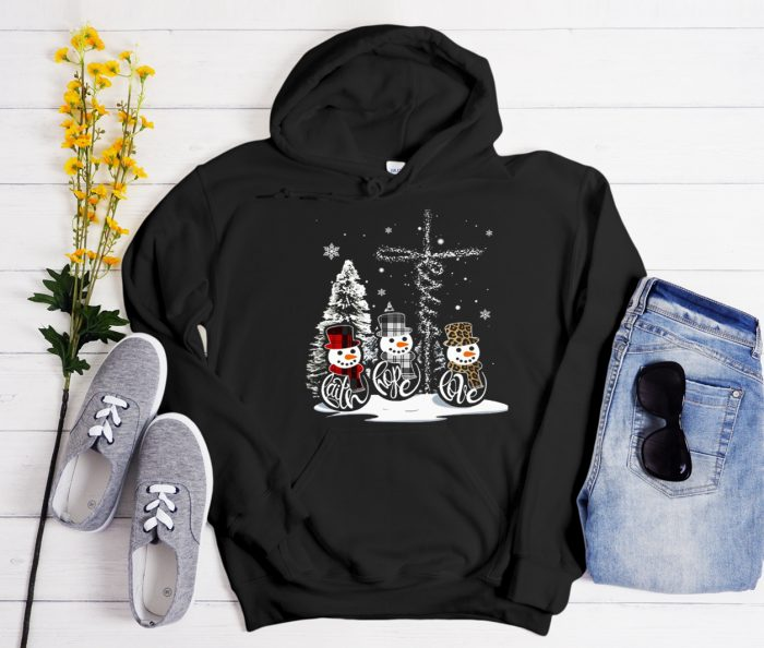 Snowman Faith Hope Love Cool Trending graphic Hoodie