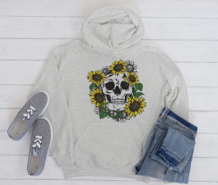 Sunflower and skull Cool Trending graphic Hoodie