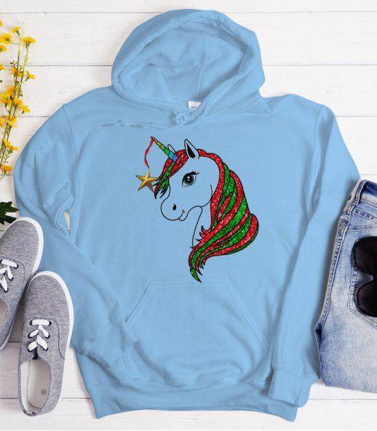 Christmas Unicorn graphic Hoodie