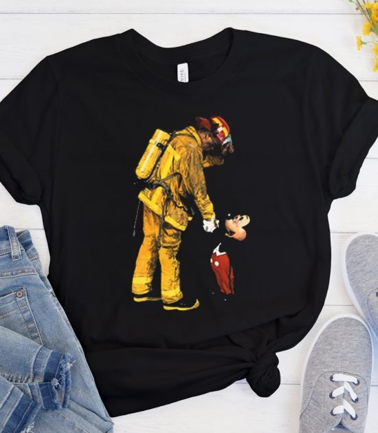 Firefighter Fireman and Mickey Mouse Cool Trending graphic T Shirt