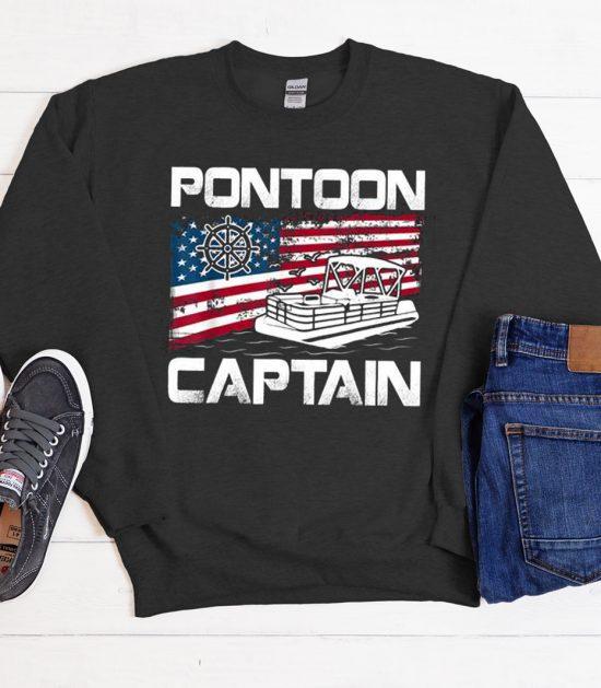 Pontoon Captain American Flag Cool Trending graphic Sweatshirt