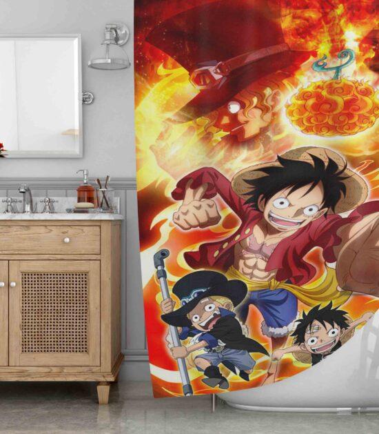Ace One Piece Luffy Brotherhood Shower Curtain