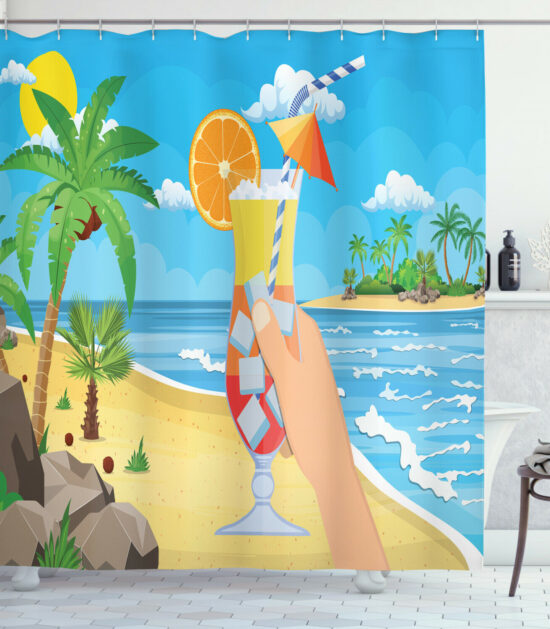 Alcohol Shower Curtain Tropical Cocktail Glass