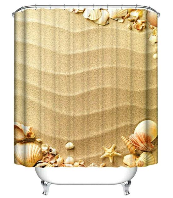 Beach Sand & Seashells Shower Curtain