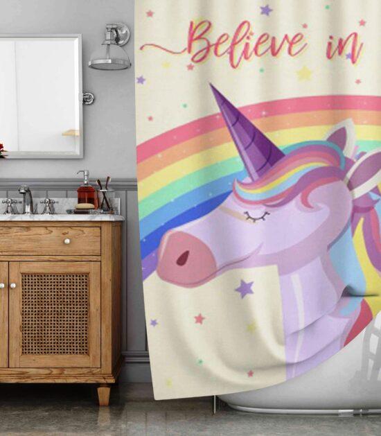 Believe in Magic Unicorn Shower Curtain