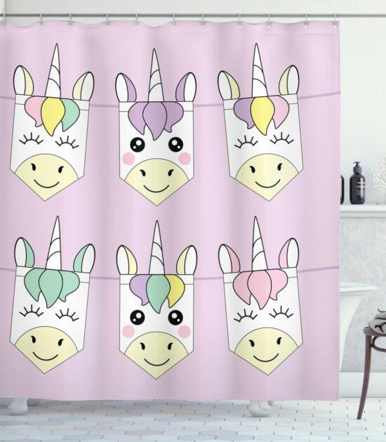 Cute Unicorn Family Shower Curtain