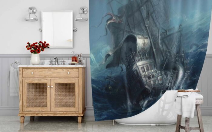 Deep Sea Monster The Kraken Ship Destroyer Shower Curtain