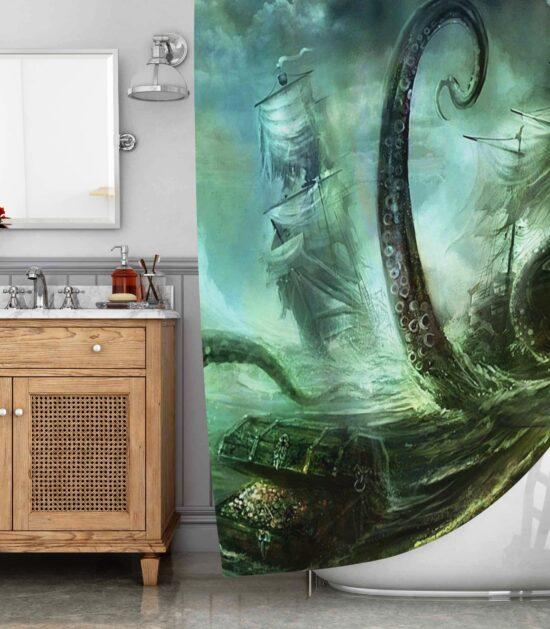 Deep Sea Monster The Kraken War Shower Curtain