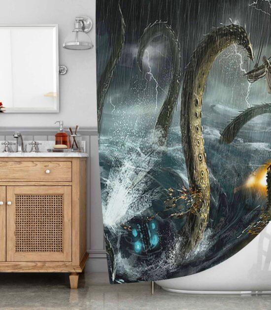 Deep Sea Monster The Kraken World Shower Curtain