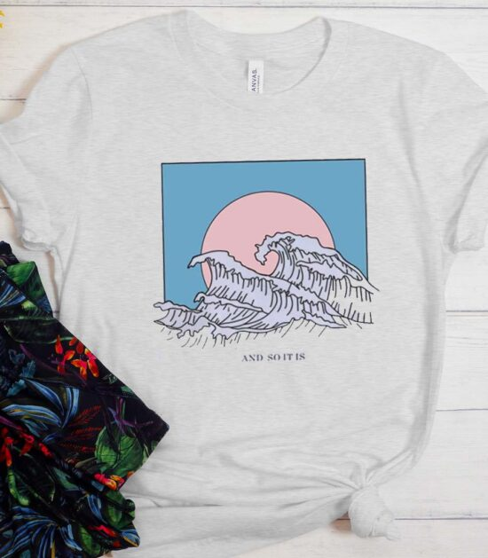 Harajuku And So It Is Ocean Wave Aesthetic T-Shirt