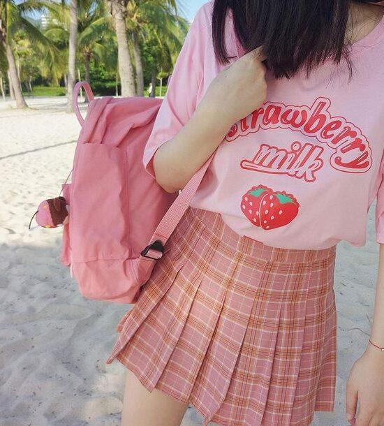 Nice To Meet Chuu Strawberry Milk Unisex adult T shirt Style